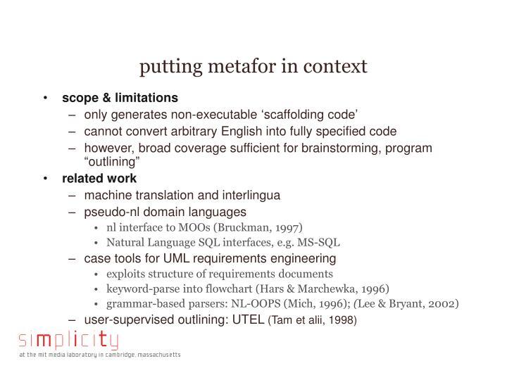putting metafor in context