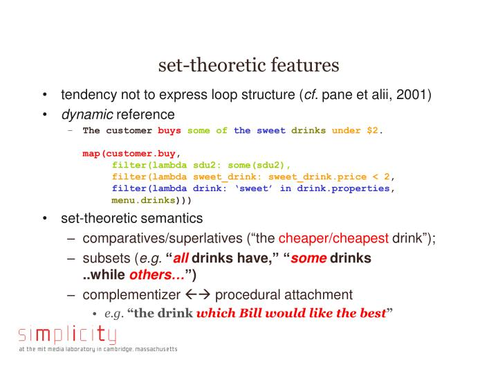 set-theoretic features