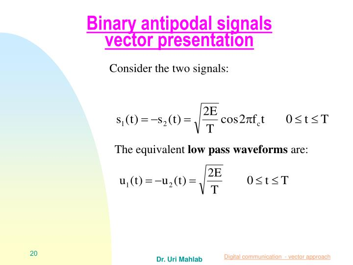Binary antipodal signals vector presentation