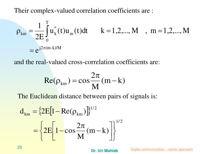 Their complex-valued correlation coefficients are :