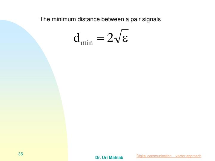 The minimum distance between a pair signals