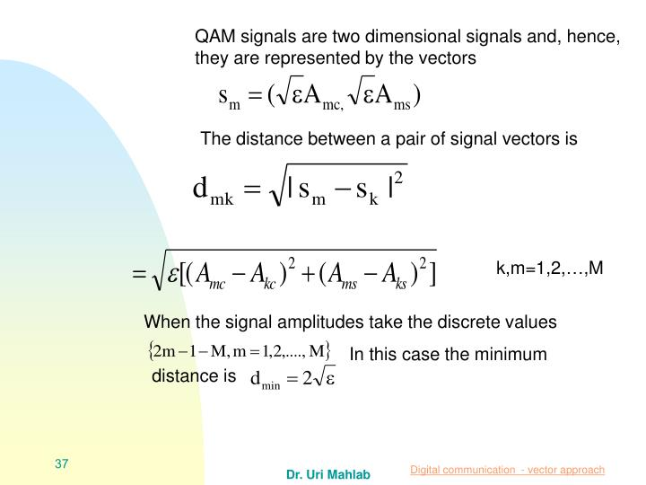 QAM signals are two dimensional signals and, hence, they are represented by the vectors
