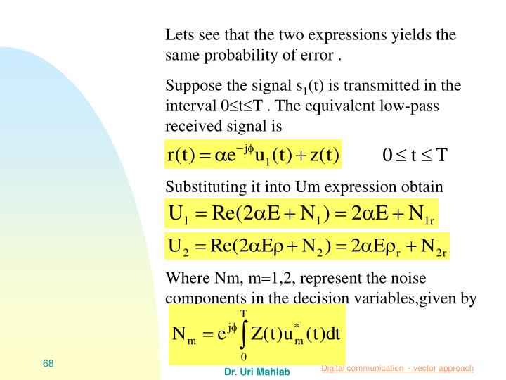 Lets see that the two expressions yields the same probability of error .
