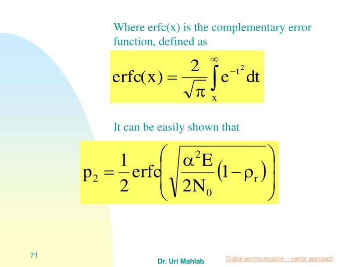 Where erfc(x) is the complementary error function, defined as