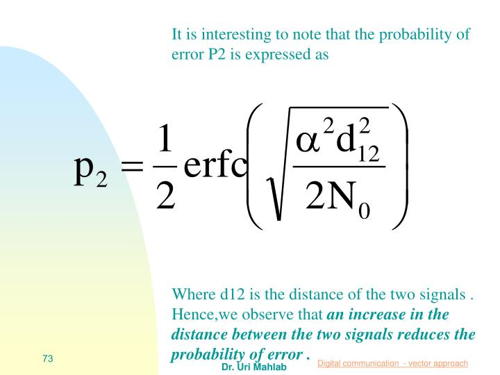 It is interesting to note that the probability of error P2 is expressed as