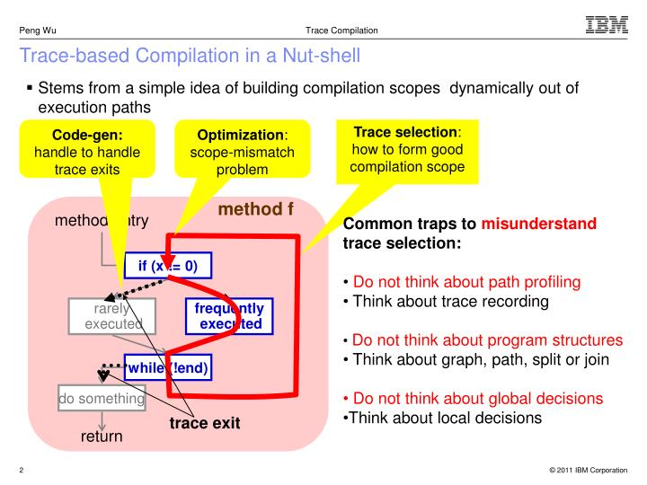 Trace based compilation in a nut shell