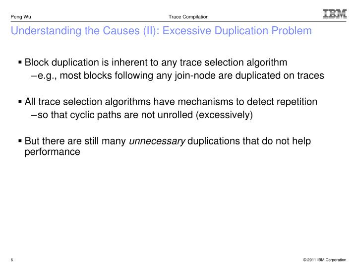 Understanding the Causes (II): Excessive Duplication Problem