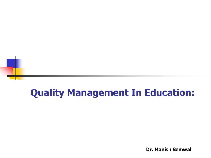 quality management in education n.