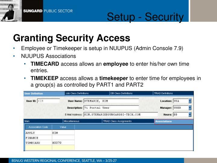 Setup - Security