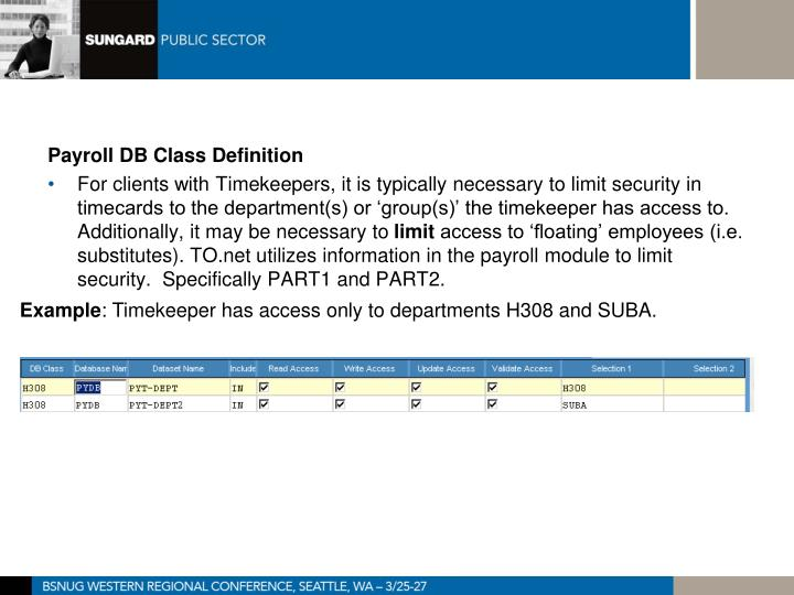 Payroll DB Class Definition