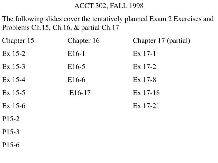 302 exam 2 sample ch 17 Ece 302: lecture 00 introduction fall 2018  i large sample limits (ch6) i estimation  exam i 2 mid terms (15% each) 1 nal.