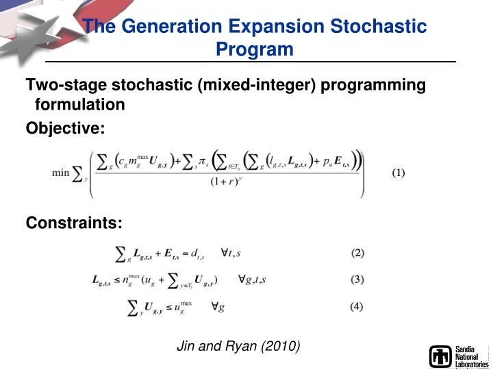 The Generation Expansion Stochastic Program