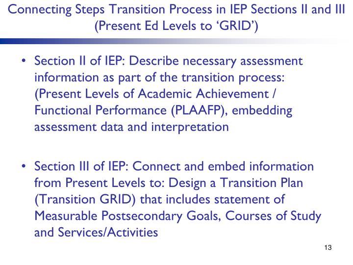 Connecting Steps Transition Process in IEP Sections II and III