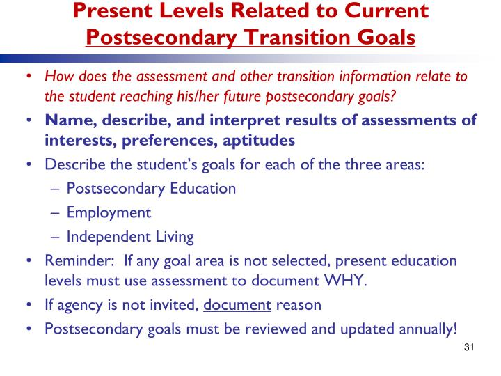 Present Levels Related to Current