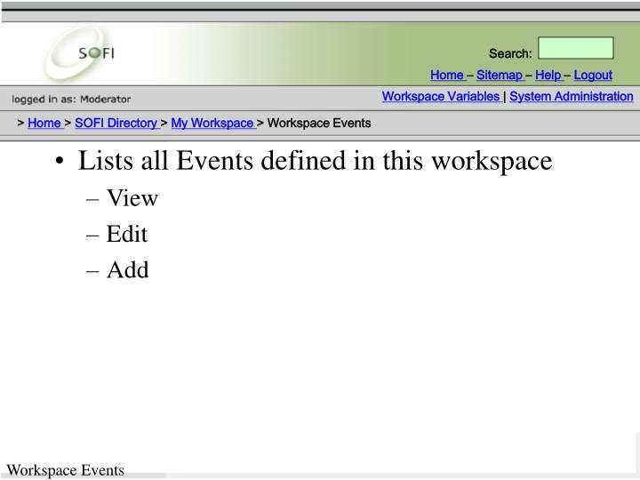 Lists all Events defined in this workspace