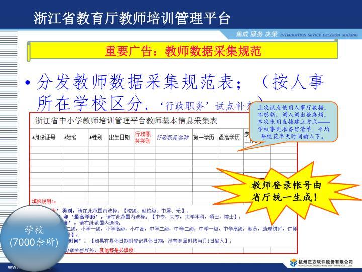 分发教师数据采集规范表;(按人事所在学校区分