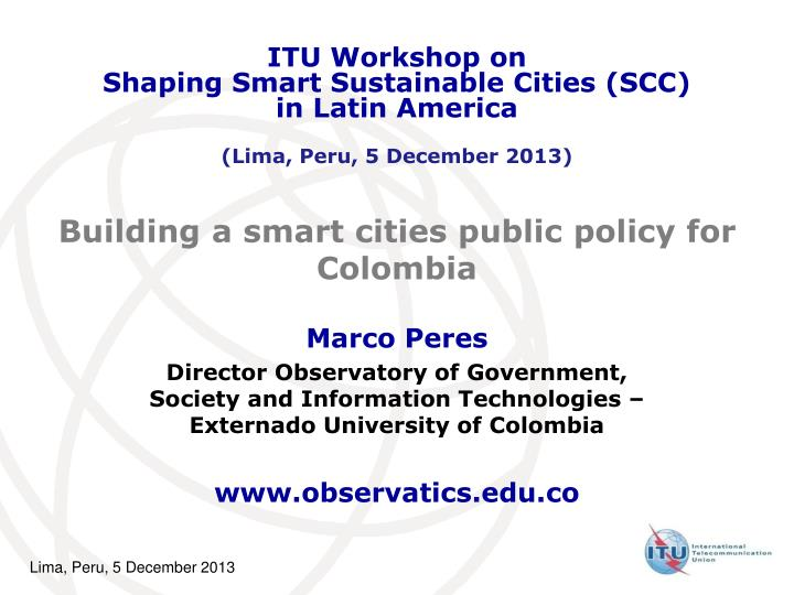 building a smart cities public policy for colombia n.