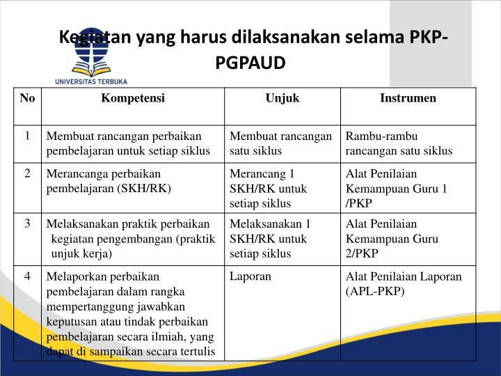 Kegiatan yang harus dilaksanakan selama PKP-PGPAUD
