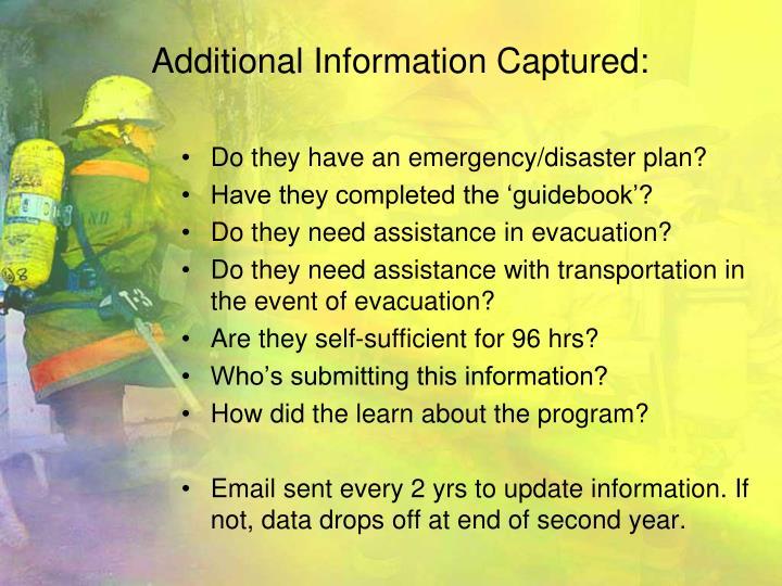 Additional Information Captured: