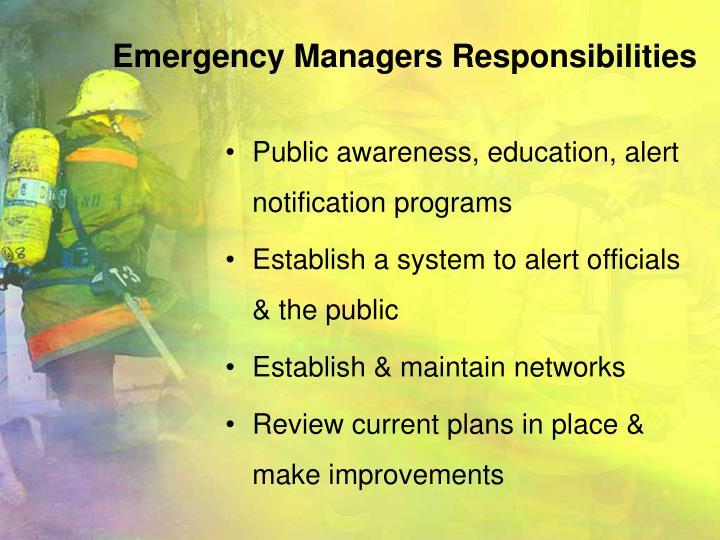 Emergency Managers Responsibilities