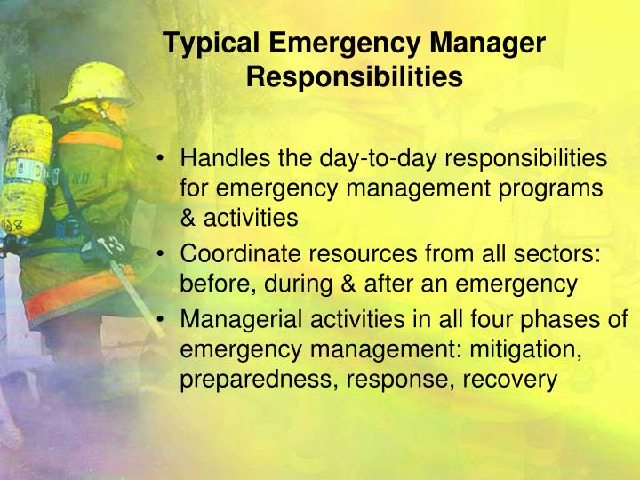 Typical emergency manager responsibilities