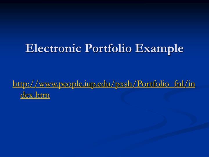 Electronic Portfolio Example