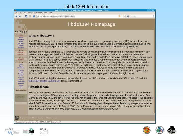 Libdc1394 Information