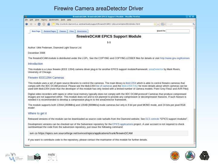 Firewire Camera areaDetector Driver