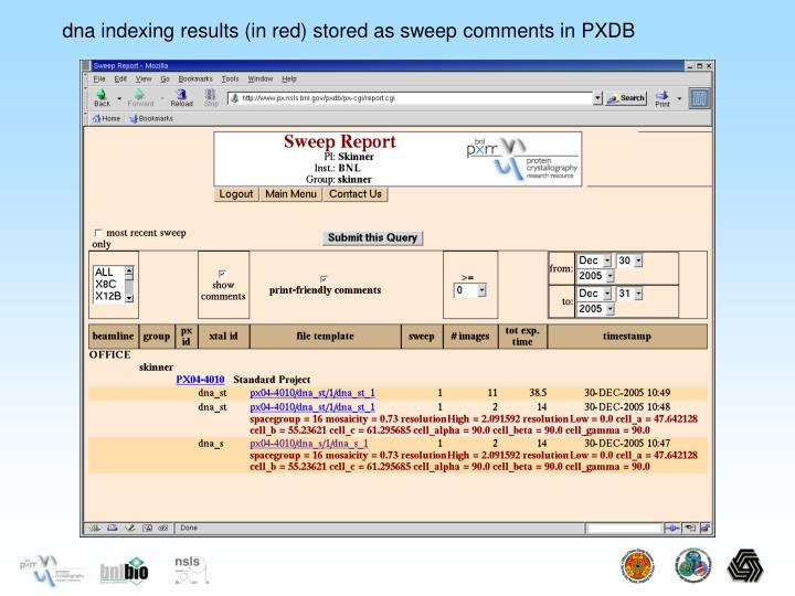 dna indexing results (in red) stored as sweep comments in PXDB