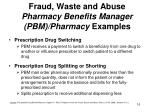 fraud waste and a buse pharmacy benefits manager pbm pharmacy examples