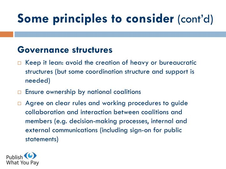 Some principles to consider