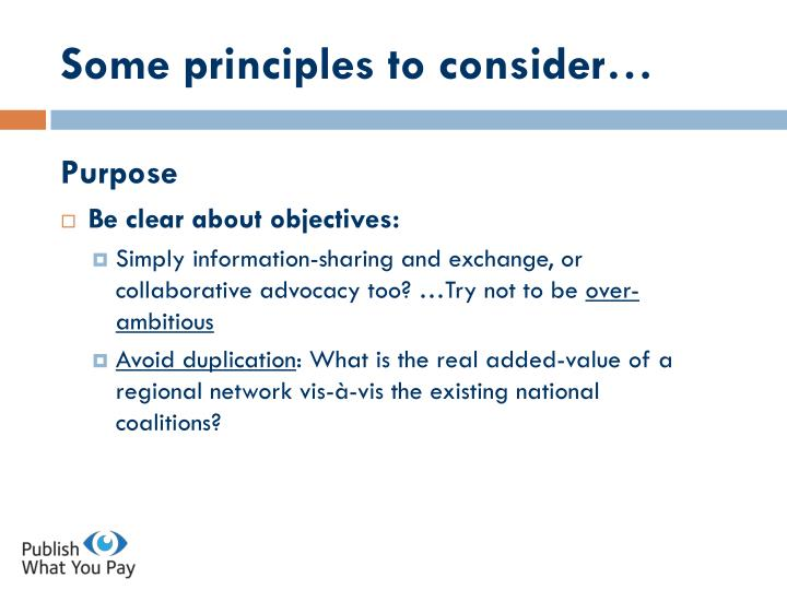 Some principles to consider…