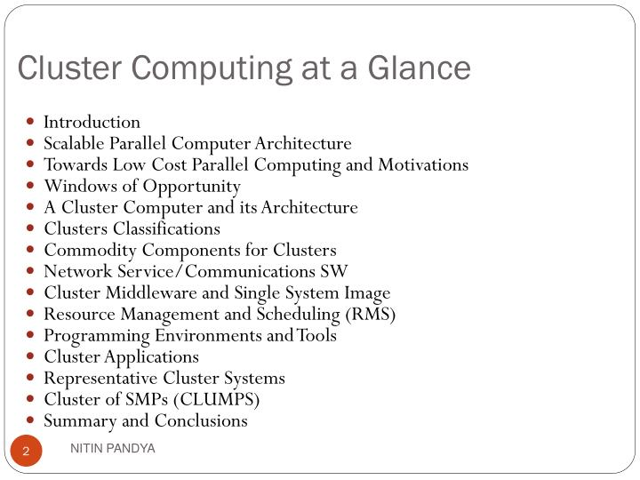 Cluster computing at a glance