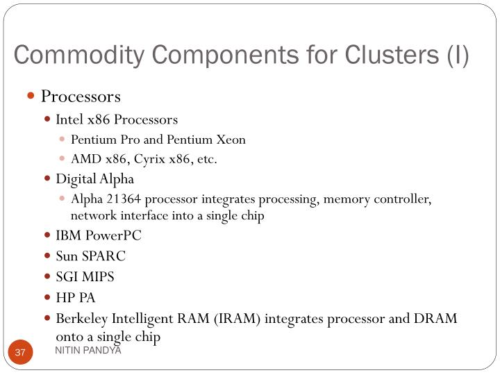 Commodity Components for Clusters (I)