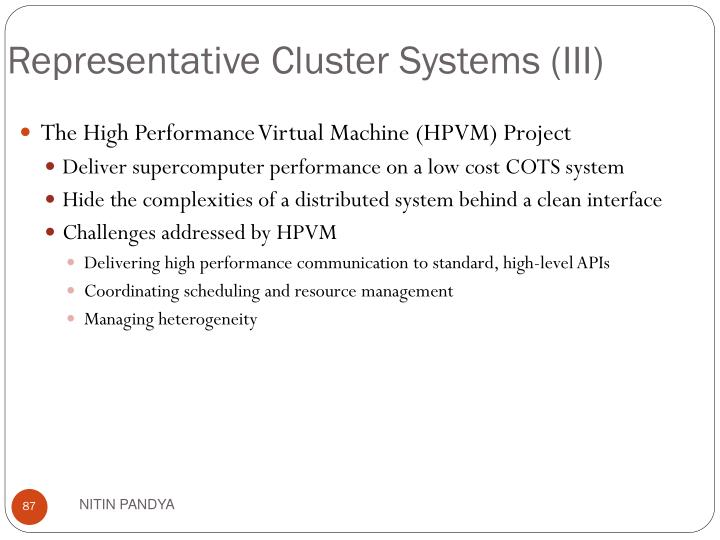 Representative Cluster Systems (III)