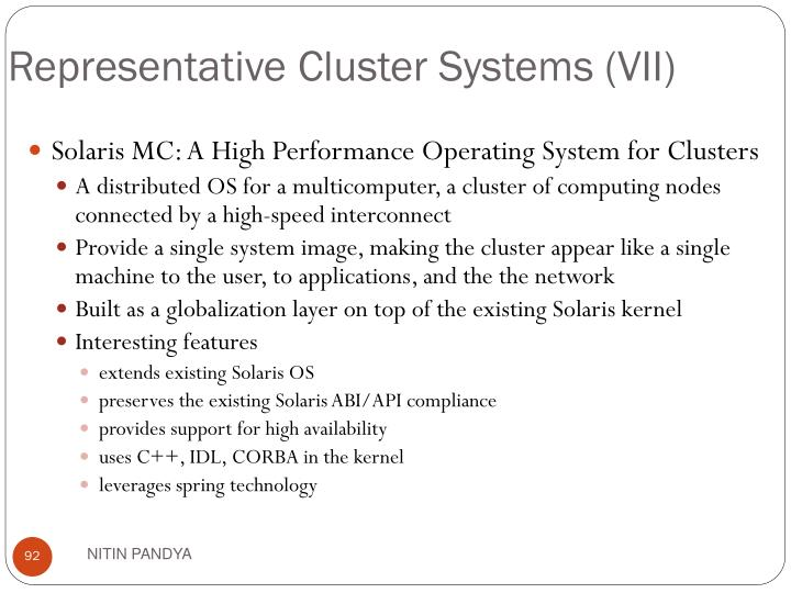 Representative Cluster Systems (VII)