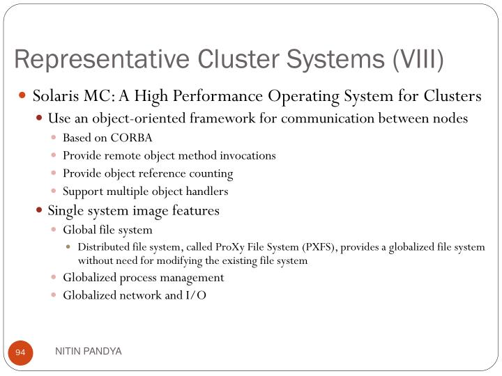 Representative Cluster Systems (VIII)