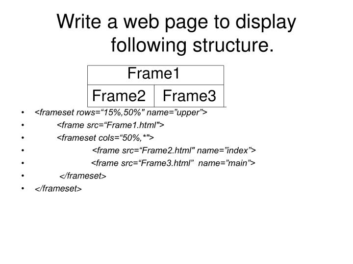 Write a web page to display following structure.