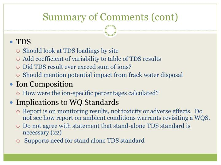 Summary of Comments (cont)