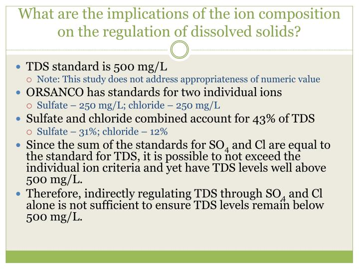 What are the implications of the ion composition on the regulation of dissolved solids?