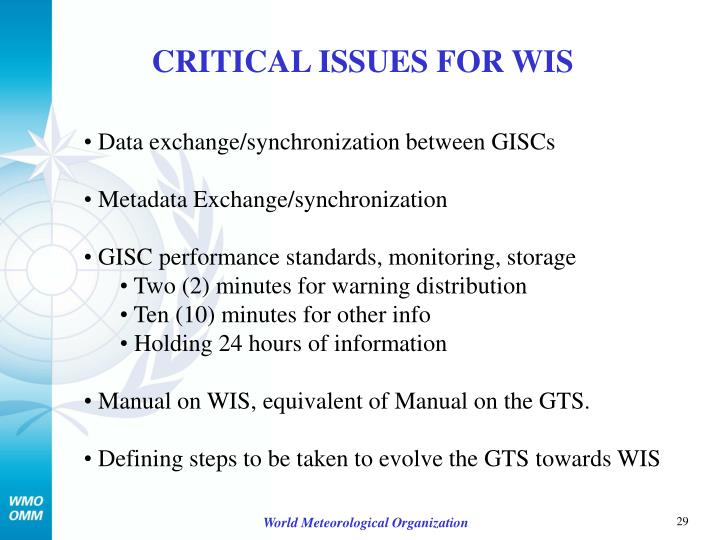 CRITICAL ISSUES FOR WIS