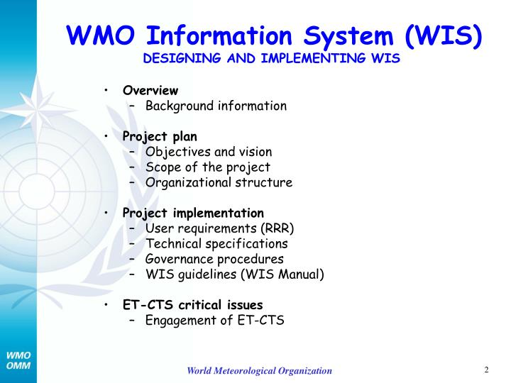 Wmo information system wis designing and implementing wis