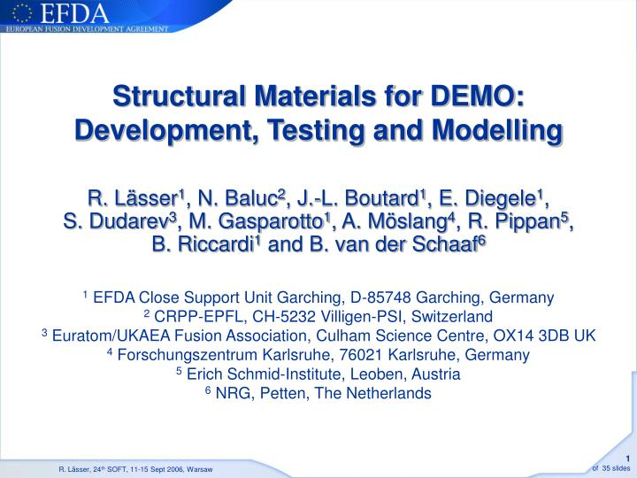structural materials for demo development testing and modelling n.