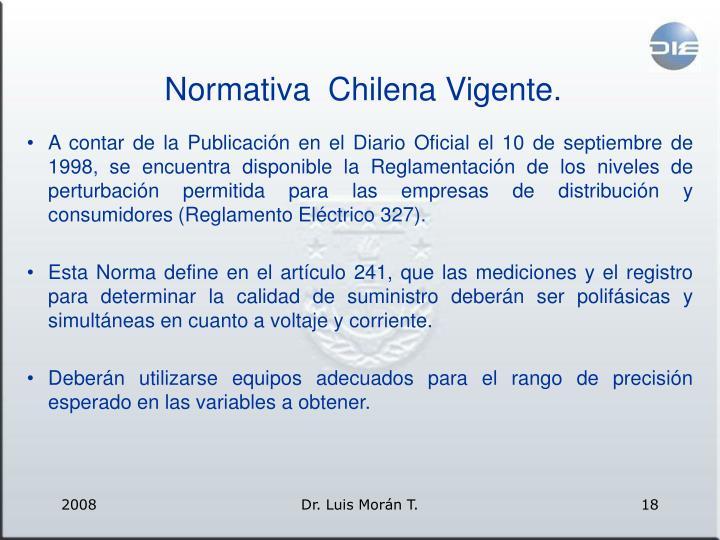 Normativa  Chilena Vigente.