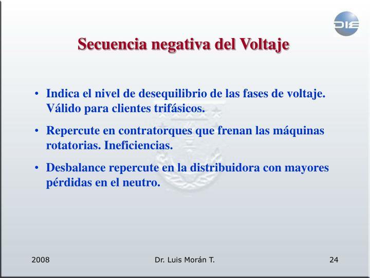 Secuencia negativa del Voltaje