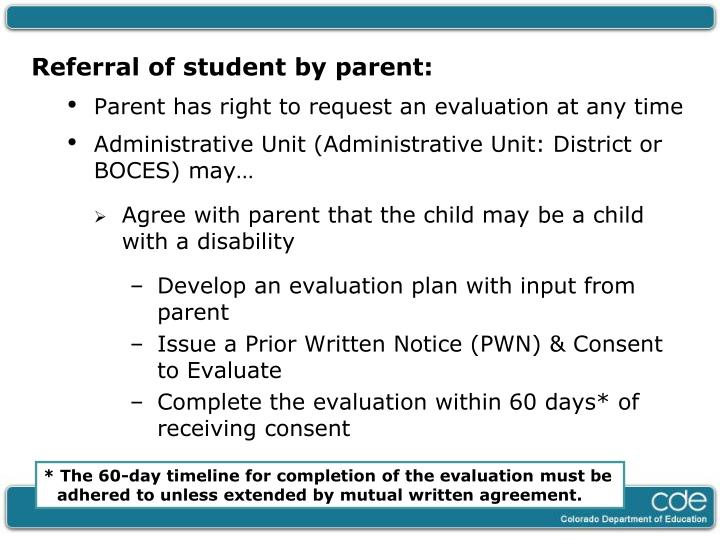 Referral of student by parent: