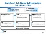 examples of u s standards organizations accredited by ansi