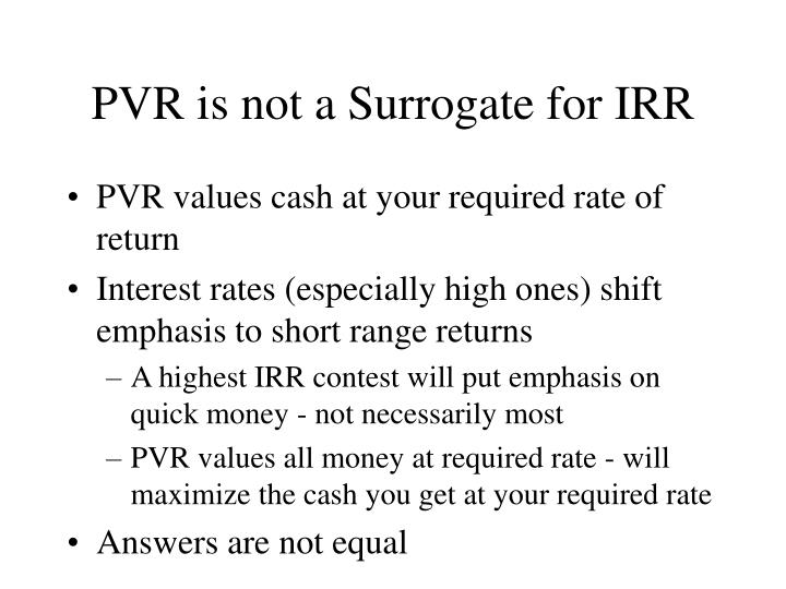 PVR is not a Surrogate for IRR