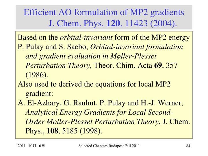 Efficient AO formulation of MP2 gradients