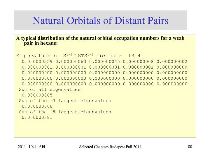 Natural Orbitals of Distant Pairs